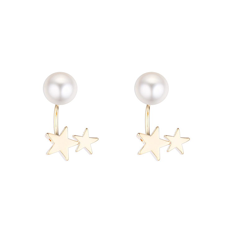 Korean creative gold-plated fashion simple pearl star S925 silver earrings NHPS193486
