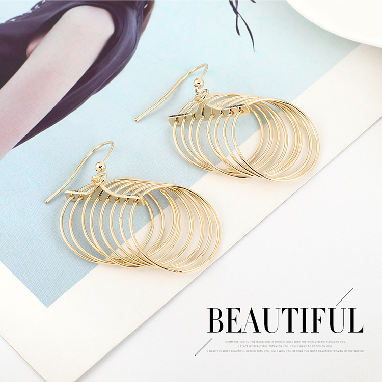 Korean fashion minimalist exaggerated gold-plated small hoop earrings NHPS193498