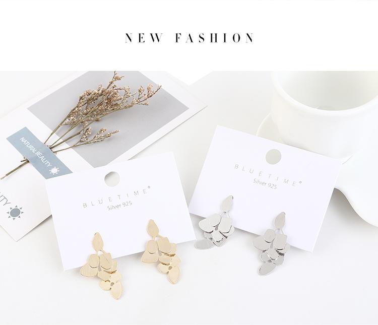 Aretes de plata S925 creativo chapado en oro real de moda simple coreana NHPS193463