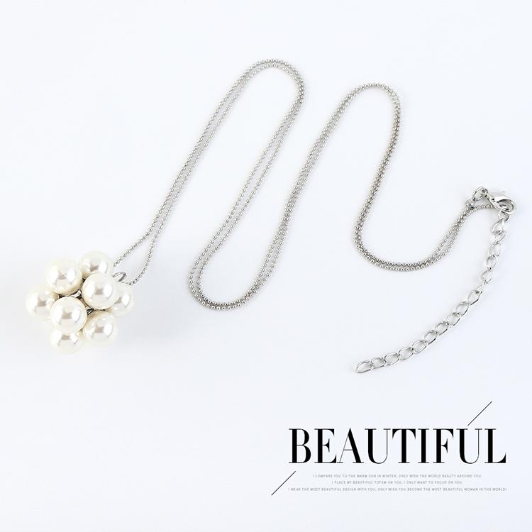 Korean fashion simple pearl sweater chain NHPS207003