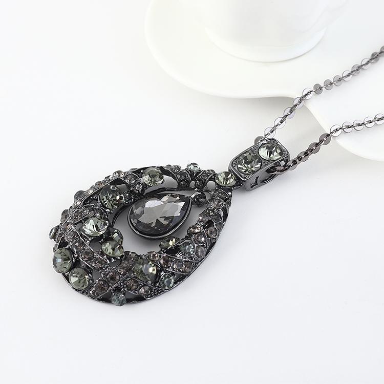 Simple vintage rhinestone glass sweater chain NHPS207012