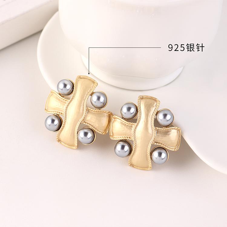 Fashion Goldplated Big Brand Frosty Wind Cross Pearl S925 Silver Stud Earrings Wholesale NHPS205288