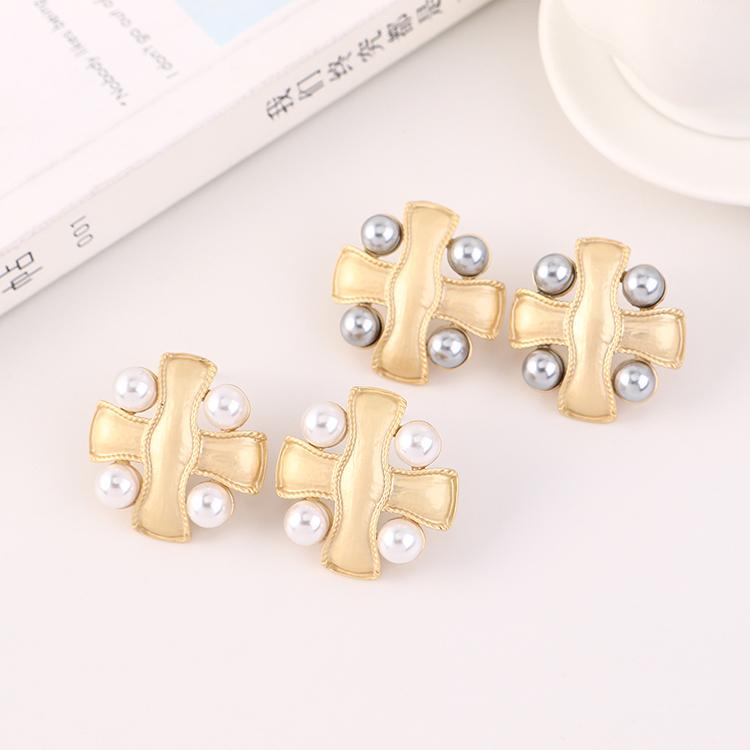 Fashion Gold-plated Big Brand Frosty Wind Cross Pearl S925 Silver Stud Earrings Wholesale NHPS205288