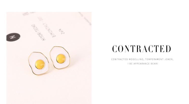 Fashion Simple Real Gold Plated Wild Fresh Painting Oil Small Yellow Egg S925 Silver Needle Earrings Wholesale NHPS205289