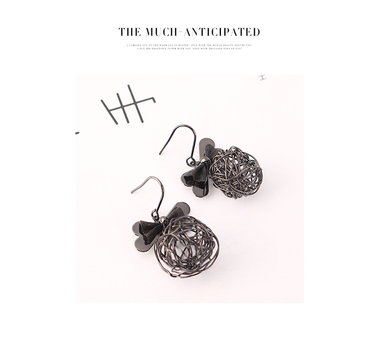 Fashion Gold Plated Bow Ball Mesh Earrings for women wholesale NHPS205290