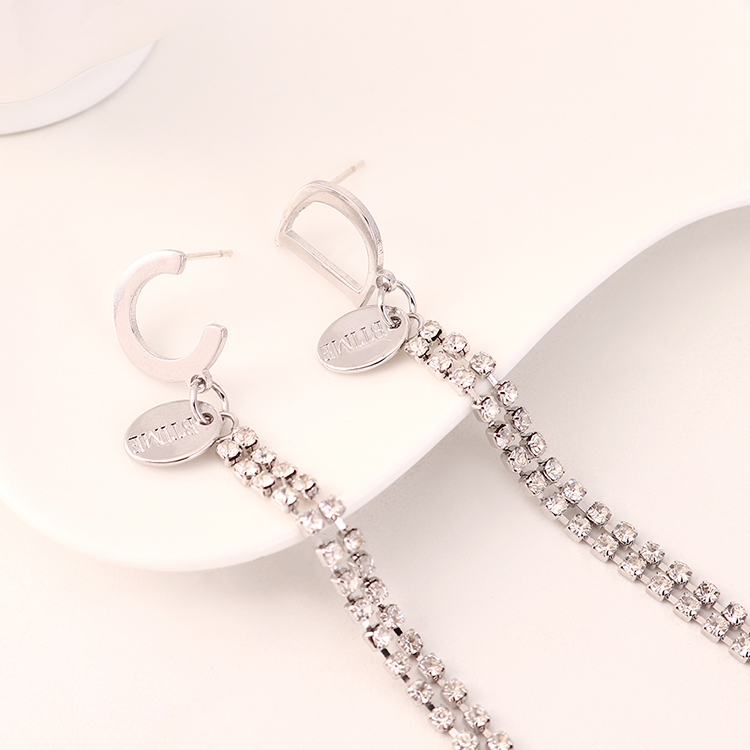 Fashion Exaggerated Real Gold Plated Long CD Letter S925 Silver Pin Earrings Wholesale NHPS205294