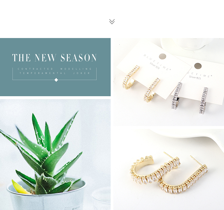 Korean wild gold-plated hollow S925 silver pin earrings NHPS203152