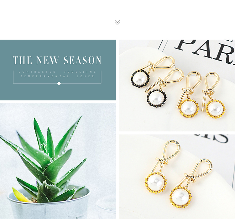 Korean version of simple and compact wild gold-plated sunflower pearl S925 silver needle NHPS203153