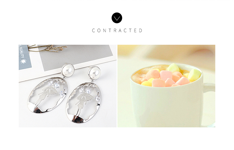 Korean personality creative wild gold-plated trendy pearls support you umbrella S925 silver needle NHPS203155