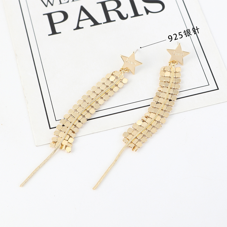 Korean fashion exaggerated creative gold-plated trendy little star tassels S925 silver needle NHPS203158