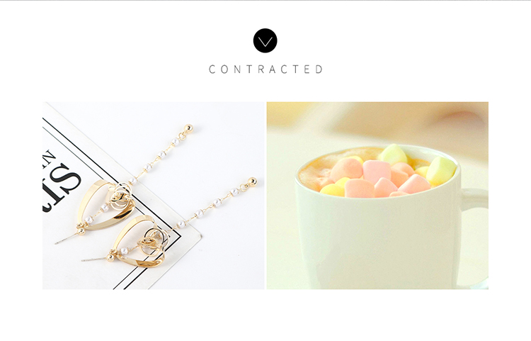 Europe and the United States long temperament fashion real gold-plated tassel long peach heart pearl S925 silver needle NHPS203159