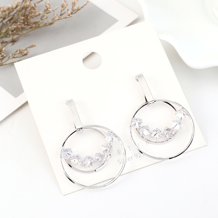 Korean creative wild gold-plated large circle hollow S925 silver earrings NHPS203166