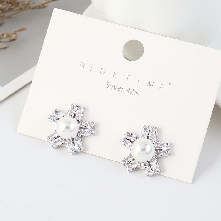 Korean retro fashion plated real gold temperament pearl flower S925 silver earrings NHPS203170