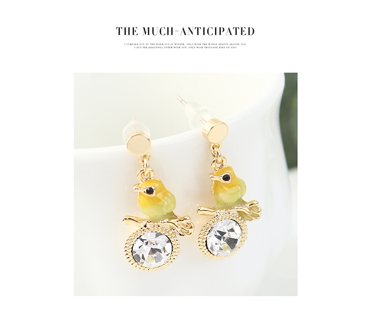Cute Trendy Gold Plated Thousand Bird Earrings NHPS203171