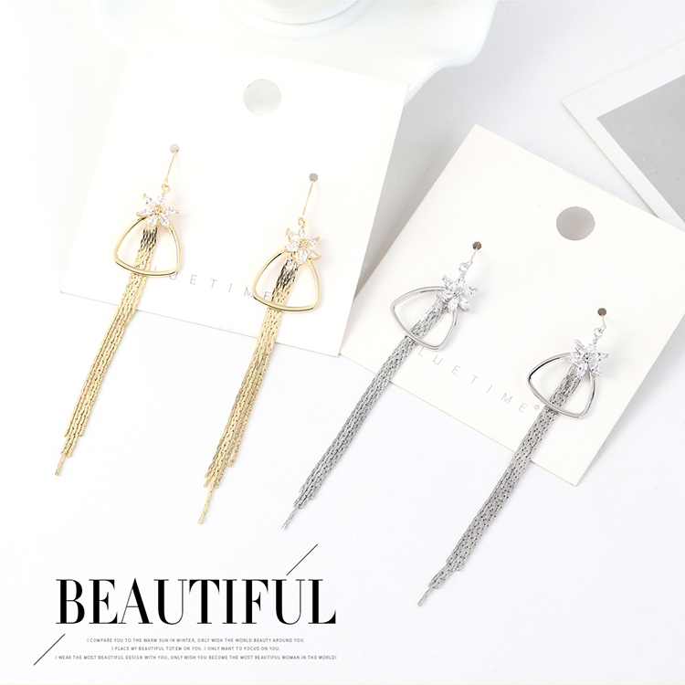 Long gold-plated fashion fringe small flower earrings wholesales yiwu suppliers china NHPS203176
