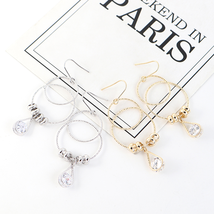 Korean creative new gold-plated temperament double circle hollow earrings NHPS203177