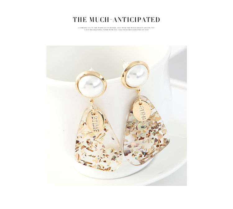 Korean fashion trendy real gold-plated shell pearl S925 silver earrings NHPS203178