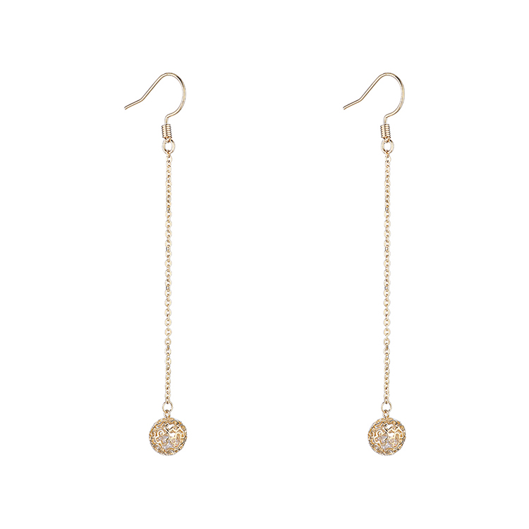 Long gold-plated fashion ball tassels earrings NHPS203179