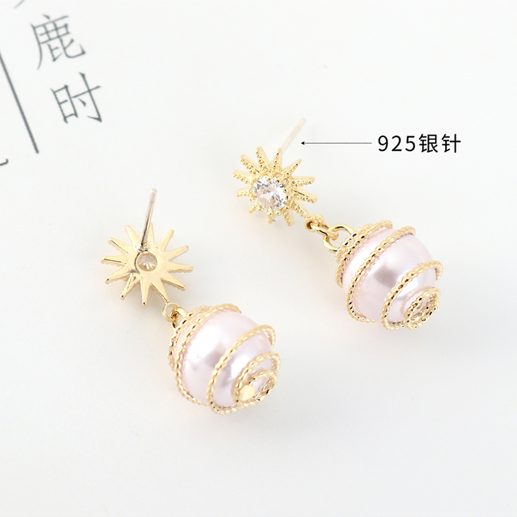 Simple and trendy gold-plated creative pearl sun flower S925 silver earrings NHPS203180