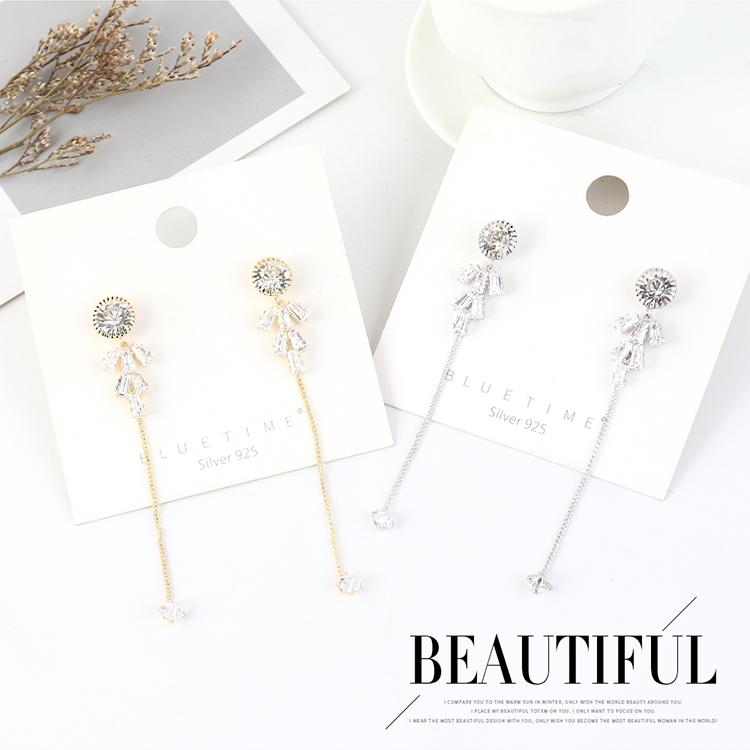 Long Fashion Gold Plated Tassel S925 Silver Pin Earrings NHPS203184