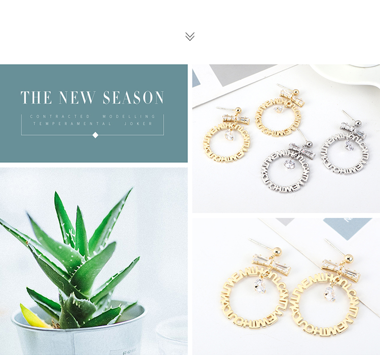 Korean Fashion Gold Plated Zircon S925 Silver Pin Earrings wholesales yiwu suppliers china NHPS203185