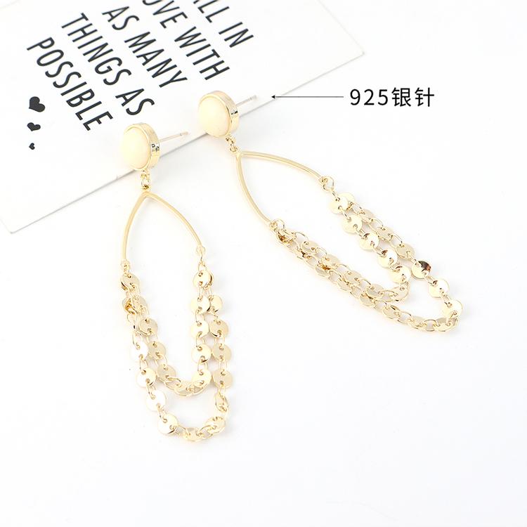Pendientes de plata chapados en coreano S925 de resina hueca de oro NHPS203188