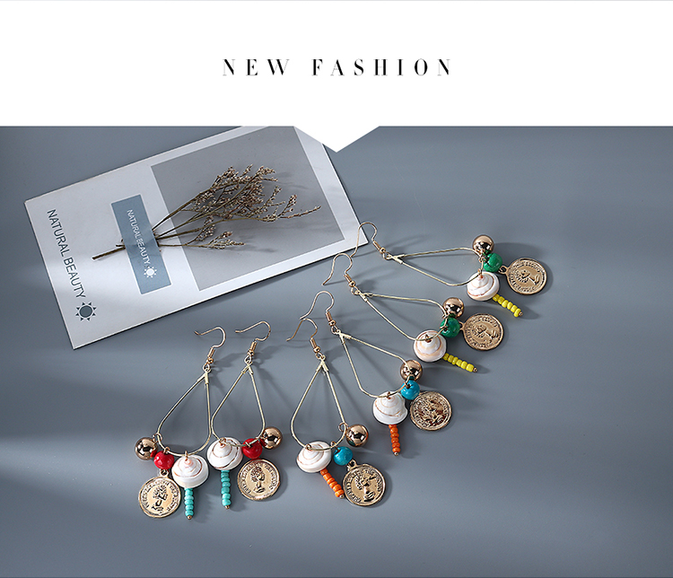 Korean Fashion Ethnic Style Retro Head Shell Earrings for women wholesale NHPS205296