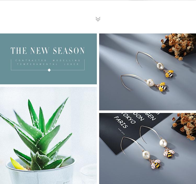 Korean creative bee imitation pearl earrings wholesale NHPS205304