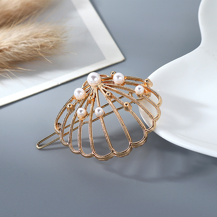 Retro fashion simple fan screen pearl cheap hair clip wholesale NHPS205305