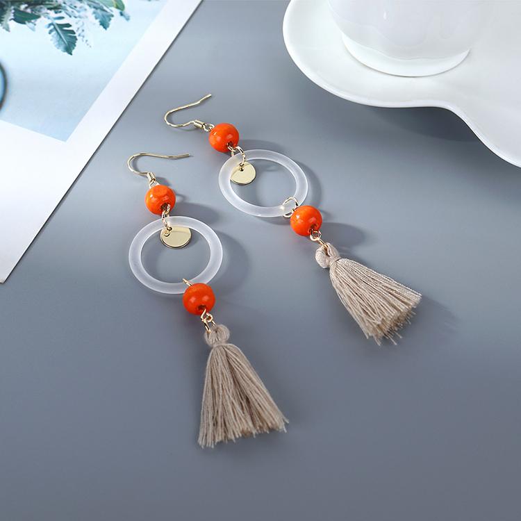 Korean Fashion Cotton Resin Small Hoop Hollow Earrings Wholesale NHPS206844