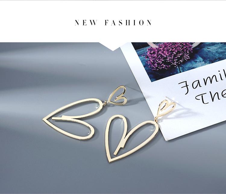 Nueva moda coreana chapado en oro genuino creativo exagerado amor salvaje S925 plata aguja cobre pendientes nihaojewelry al por mayor NHPS214649