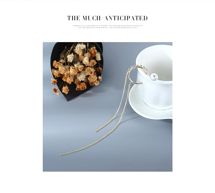 The new genuine goldplated exaggerated wild asymmetric pearl rhinestone tassel S925 silver needle copper earrings nihaojewelry wholesale NHPS214659