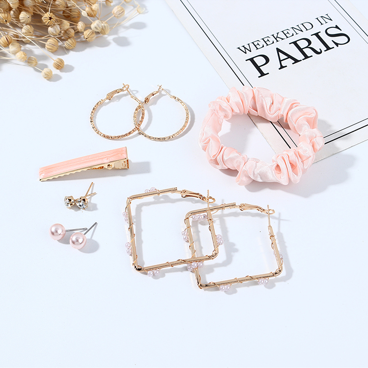 Korean simple and versatile small fresh and fashionable earrings pink cheap hairpin set nihaojewelry wholesale NHPS214692