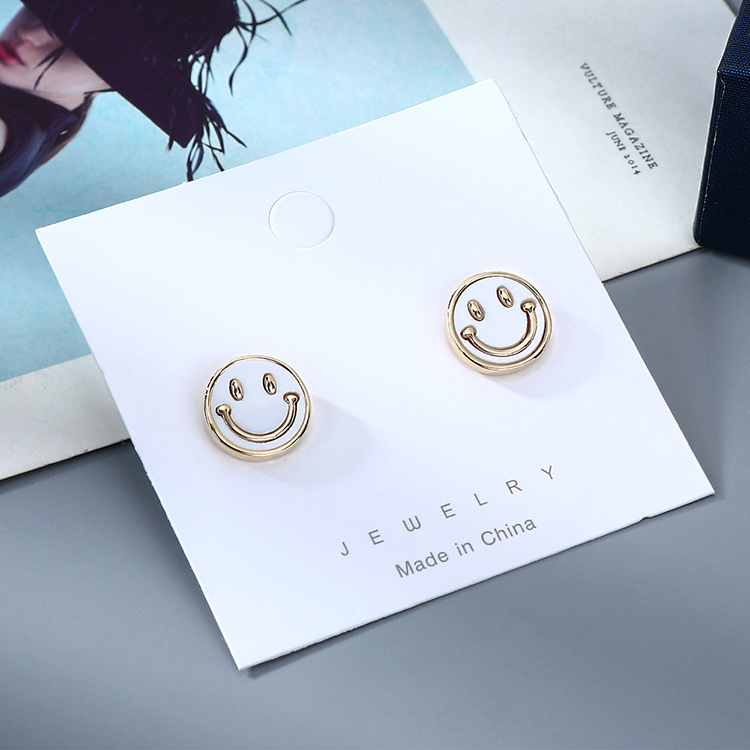 Korean  fashion new  gold-plated simple  niche smiley doll S925 silver needle copper earrings  nihaojewelry wholesale NHPS218604