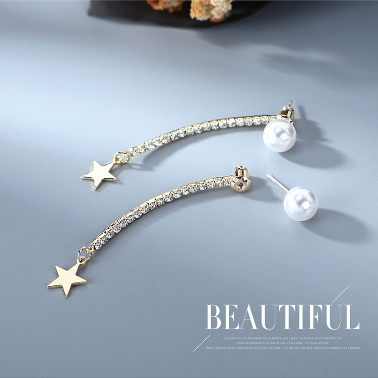 Korean fashion  gold-plated  creative small stars pearl S925 silver needle copper earrings wholesale NHPS218609