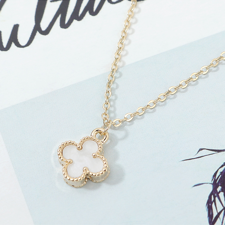 Gold Plated Necklace fashion Lucky Clover green necklace women NHPS222643