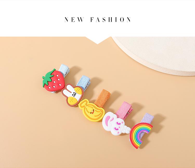 Korean hair clips set children sweet and wild popular strawberry rainbow hairpin set NHPS222649
