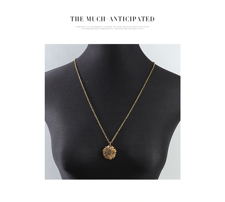 creative exaggerated wild sunflower necklace wholesale nihaojewelry NHPS227065