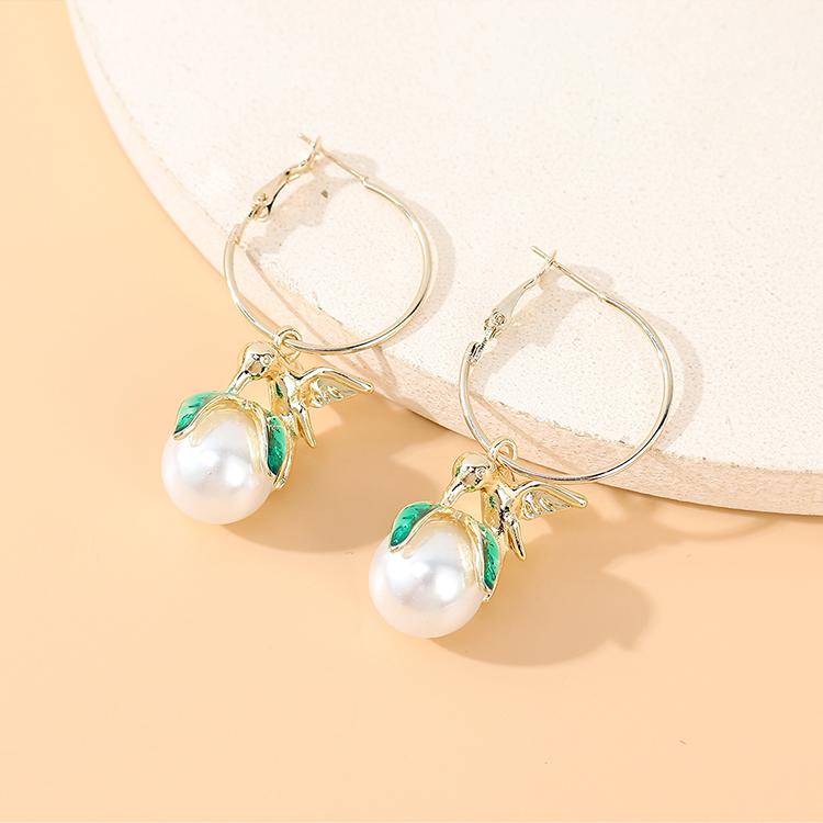 Korean retro fashion wild personality temperament  creative pearl earrings nihaojewelry wholesale   NHPS235613