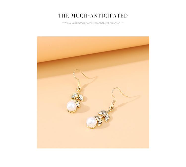 French retro new  wild personality  pearl rhinestone earrings nihaojewelry wholesale   NHPS235616