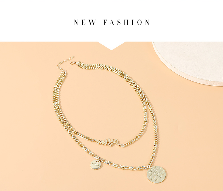 Fashion simple necklace for women maple leaf disc letter double necklace for women nihaojewelry NHPS237315