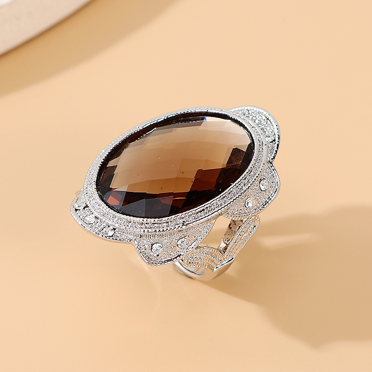 Korean fashion ring color brown ring wild tide glass rhinestone ring alloy ring nihaojewelry NHPS237318