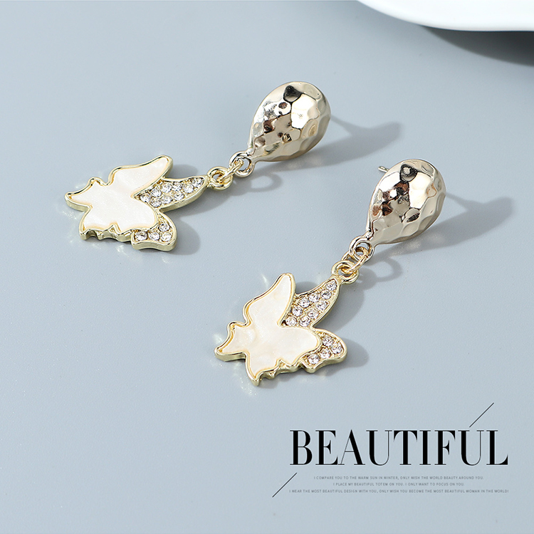 Korean fashion little fairy small butterfly crystal earrings wholesale nihaojewelry NHPS243734