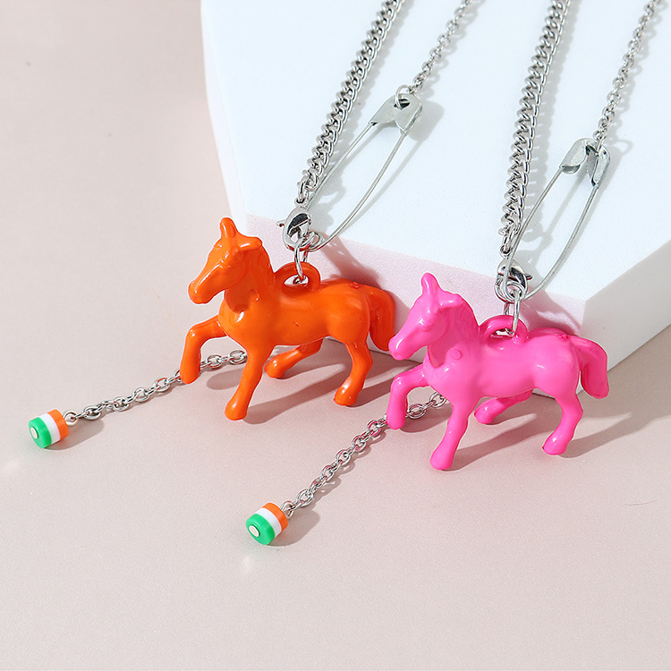 Korean  exaggerated fashion creative wild personality pony necklace NHPS245967