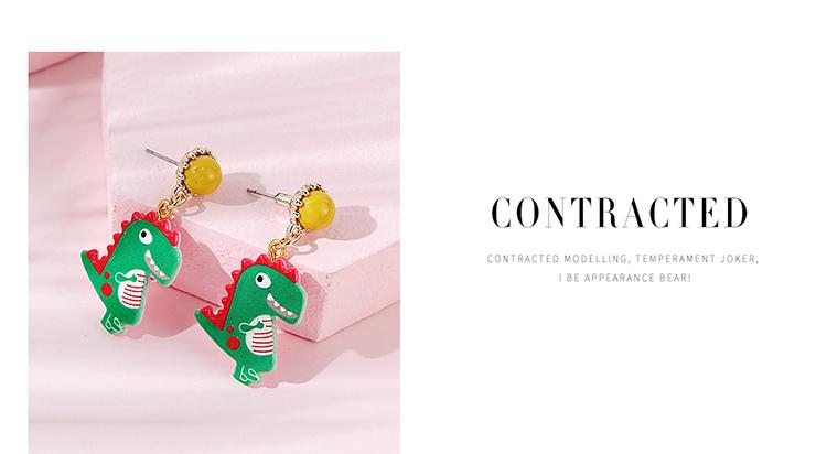 Fashion creative little green dragon  earrings wholesale NHPS255199