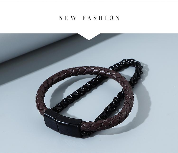 Korean fashion trend line all-match men's double-layer alloy bracelet NHPS255220