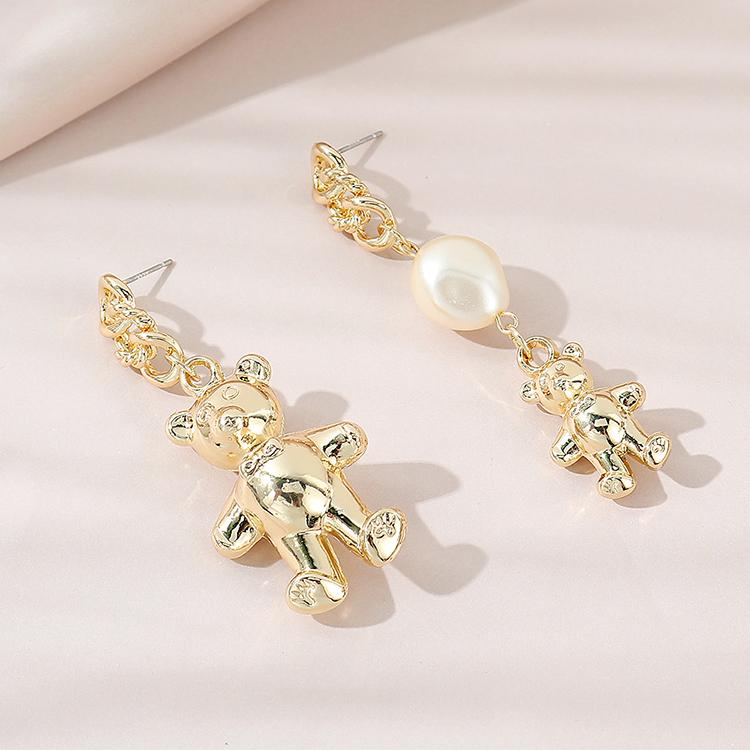Retro wild small fresh and sweet fashion asymmetrical bear pearl earrings NHPS256373