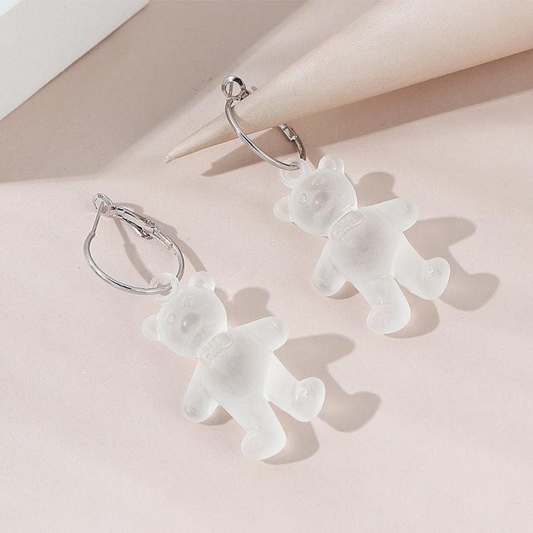 Creative simple fashion resin bear earrings wholesale NHPS261153