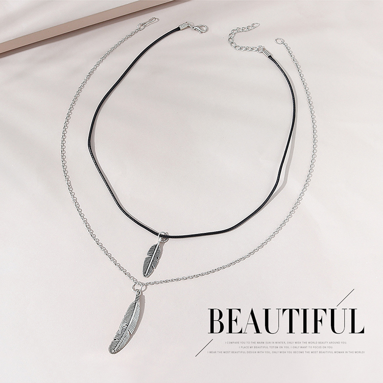 Korean style simple fashion allmatch creative feather couple necklace NHPS303211