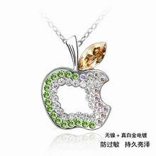奥地利水晶项链-平安果(金色魅影+橄榄)